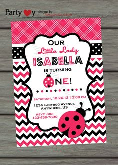 Ladybug Birthday Invitation, Little Lady Birthday Invitation, Lady Bug Invitation, Hot Pink Birthday Invitation. Pink and Black Invitation on Etsy, $11.17 CAD