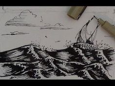 Pen and Ink Drawing Tutorial | How to draw water