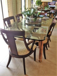 Dining Chairs, Empire Style. Glass Table. Mirror Back Wall. Chairs From  Ethan  Ethan Allen Dining Room Chairs