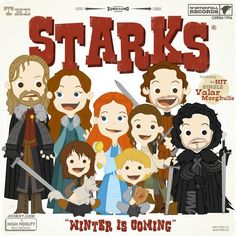 Artist Jobot creates a new series of parodies of popular movies, TV shows & Video Games as classic children's books or album covers ~ Game of Thrones ~ The Starks!