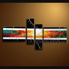 Colorful Modern Abstract Painting High Quality Oil Painting Gallery Stretched Abstract. This 4 panels canvas wall art is hand painted by A.Qiang, instock - $145. To see more, visit OilPaintingShops.com