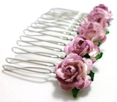 Set of Two Multi-Tone Purple Lilac Rose Hair Comb for Flower Girl. £17.00, via Etsy.