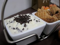Cannoli Dip~  1.5 pounds of whole milk ricotta,  1/2  cup powdered sugar,  1/2 cup mini chocolate chips plus 1 tablespoon for garnish,  1/4 cup whole milk,  1box of waffle cones broken into pieces