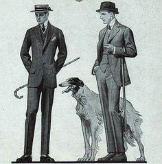 Leyendecker - Borzoi & Men in Kuppenheimer Suits, 1914 (No Info Which)