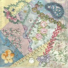 Inspiration for using personal items and old lace in a crazy quilt. Love the soft pastel colors.