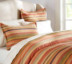 Logan Stripe Duvet Cover & Sham - Red | Pottery Barn Main bedroom or guest bedroom