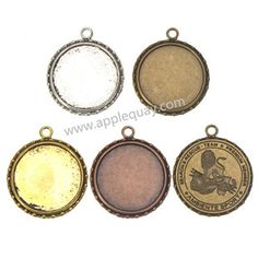 Zinc Alloy Round Pendants,Cabochon Setting,Plated,Cadmium And Lead Free,Various Color For Choice,Approx 47.5*41*2.5mm&34mm,Hole:Approx 4mm,Sold By Bags,No 002458