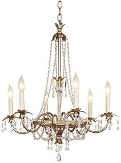 Schonbek Silver Gold Six Light Chandelier | LampsPlus.com