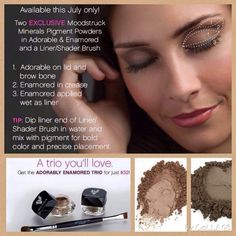 """Guess what day it is?!?!? That's right July 1st!!!   NEW MONTH, NEW KUDOS!   I love this deal! 2 BRAND NEW and EXCLUSIVE mineral eye pigments in """"Adorable"""" and """"Enamored"""" AND a liner/shader brush for only $32! What???! Amazing deal! You save $11"""