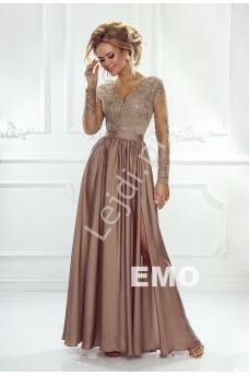 c47214a8d68fef Sukienka na wesele z długim tiulowym rękawem obszytym gipiurową koronką |  Karmelowa suknia wieczorowa Luna
