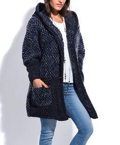 Look at this #zulilyfind! Navy Blue Wool-Blend Popcorn-Knit Hooded Cardigan #zulilyfinds