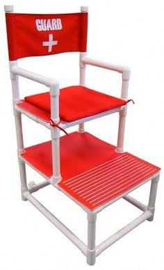 DIY - PVC Lifeguard Chair: Keep it safe near the pool or beach with this PVC Lifeguard Chair Pvc Pipe Crafts, Pvc Pipe Projects, Diy Pipe, Pool Chairs, Outdoor Chairs, Outdoor Decor, Pvc Furniture, Outdoor Furniture, Pvc Pool