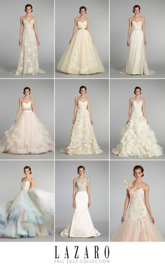 Lovely Lazaro 2012 wedding gown collection. Obsessed with the fun colors!!!