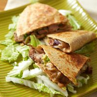 Asian Pork Quesadillas  Pairing an easy-fix Peanut Sauce with whole grain tortillas and a pork tenderloin filling blends Mexican- and Asian-inspired foods for a best-of-both-worlds dish.