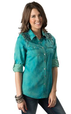 Roar Women's Glistening Teal with White Floral Embroidery and ...