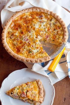 Ham and Cheese Quiche from /NevrEnoughThyme/ http://www.lanascooking.com/2012/03/06/ham-and-cheese-quiche/ #quiche #ham #cheese #eggs