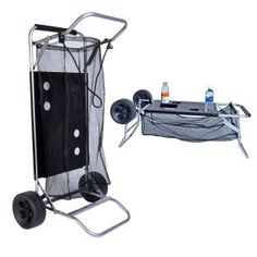 Buy Beach Cart with Folding Table/Drink Holders - Grey Frame/Black Table Camping Furniture, Camping Chairs, Folding Wagon, Tailgate Table, Fishing Cart, Beach Wagon, Inch Beach, Beach Cart, Beach Items