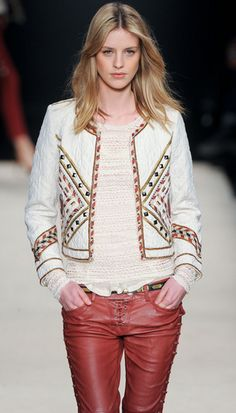 Isabel Marant- White Fall 2012 Quilted Stud Embellished Jacket