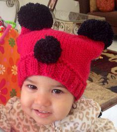 Pdf knitting pattern only.  Pom Pom red panda hat toddler baby on Etsy, $4.00