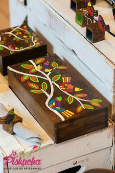 Best 12 Handmade wooden tea box made decorated with sand and painted with typical Salvadorian designs. Wooden Box Crafts, Wooden Tea Box, Painted Wooden Boxes, Mandala Art, Art N Craft, Bottle Art, Paint Designs, Box Art, Handmade Wooden