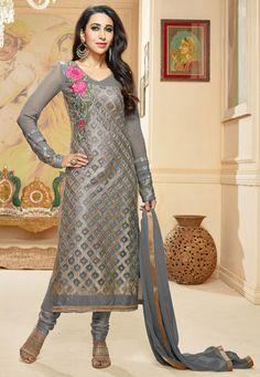 Buy Grey Faux Georgette Churidar Kameez online, work: Embroidered, color: Grey, usage: Party, category: Salwar Kameez, fabric: Georgette, price: $65.00, item code: KYX668, gender: women, brand: Utsav
