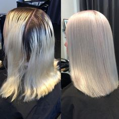 Platinum Perfection by @moy.hairsalon! Formula: Blondor bleach 40 vol. (12%) with Olaplex No 1 on the outgrowth (natural base) for 20 min under Climazon. Rinse. Wella Illumina 10/69 +8/69+ 9/60 6 vol. (1,9%) with Olaplex No 1 throughout the whole head. Under Climazon for 15 min. Rinse, then Olaplex No 2 for 20 min. #Olaplex #modernsalon #btcpics #beautylaunchpad #platinumblonde