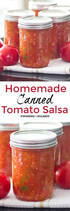Homemade Canned Tomato Salsa by Noshing With The Nolands captures the fresh flavors of the farmers market that you can enjoy during the winter months! Salsa With Canned Tomatoes, Fresh Tomato Salsa, Canning Tomatoes, Salsa Canning Recipes, Canning Salsa, Canning 101, Pressure Canning, Homemade Canned Salsa, Guacamole