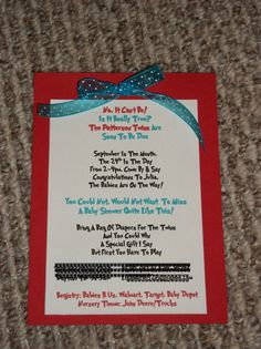 Always Homemade: Thing1 and Thing 2 Baby Shower Invites