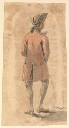 Back view of man urinating by Gabriel Bray, London in late September or very early October 1774 while Bray was on his way to Portsmouth , or there. A familiar vignette of ordinary life in an age entirely lacking 'public conveniences'.