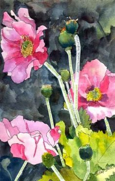 Imperial Pink Poppies, painting by artist Kay Smith