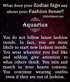 Zodiac Fashion Sense #Aquarius
