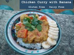 This gluten and dairy free chicken curry with banana is so easy and is completely delicious, especially with the freshness from the fruit. Free Chickens, Chicken Curry, Gluten Free Recipes, Guacamole, Free Food, Dairy Free, Special Occasion, Banana, Favorite Recipes