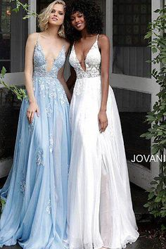 Light blue floral embroidered plunging neckline prom dress new Jovani Wedding Dresses, Baby Blue Prom Dresses, Flowy Prom Dresses, Cotillion Dresses, Bodice Wedding Dress, Pretty Prom Dresses, Dress Prom, Bridesmaid Gowns, Pageant Dresses