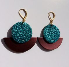 Sun and moon iridescent blue and plum leather earrings by byTASH