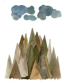 Sierra Mountains  8x10 Watercolor Print by TheBarberShop on Etsy, $20.00