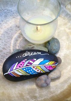 DREAM Painted BOHO FEATHER Beach Stone by PaintMyselfPretty