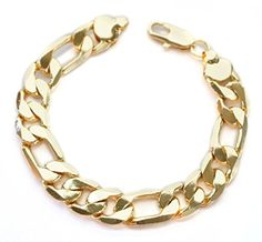 8 7/8 Classic Chunky High Fashion 14kt Yellow Gold Layered 13mm Thick Figaro Chain Bracelet by Witch and Rich -- Awesome products selected by Anna Churchill