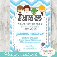 Printable blue chevron star wars baby shower invitation for boys features the cutest whimsical characters against a zigzag patterned backdrop in white and blue. #babyprintables