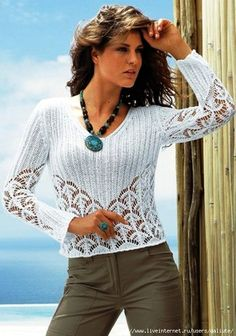 White Openwork Top free knitting graph pattern @Af's CROCHET AND KNIT INSPIRATION: http://pinterest.com/gigibrazil/crochet-and-knitting-lovers/ . Summer Knitting, Lace Knitting, Knitting Patterns Free, Crochet Patterns, Crochet T Shirts, Crochet Yarn, Knit Jacket, Knit Cardigan, Crochet Woman