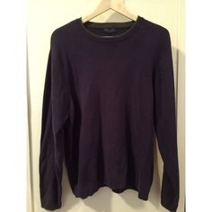 Men's Saddlebred Navy Sweater Screw neck line with grey trim. Very slightly faded dark navy color with no piling. Great condition! No stains, rips, or holes. Only minimal signs of washing. 100% Cotton. Perfect gift for Christmas! ••• Arm length: 26in. Torso length: 27in. Bust length: 21in. Saddlebred Sweaters Crew & Scoop Necks