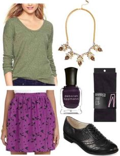 Olive green shirt, purple printed skirt, black shoes, statement necklace, tights, purple nail polish