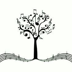 music tree of life Music Tattoo Designs, Music Tattoos, Body Art Tattoos, Tattoo Noten, Music Tree, Note Tattoo, Music Drawings, Music Crafts, Music Notes