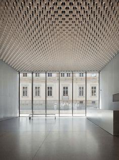 Graubünden Museum of Fine Arts // Barozzi Veiga — - archaic Interior Ceiling Design, Lobby Interior, Interior Lighting, Roof Ceiling, Ceiling Grid, Painting Ceiling Fans, Decorative Ceiling Fans, Museum Lighting, Ceiling Treatments