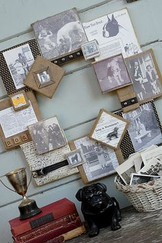 vintage photo display canvas collage wreath displays old family photos
