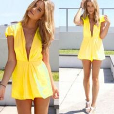 """"""" S u g a rNS p i c e """"  romper This yellow chiffon timber is too cute! It's a v-neck collar. ❌DO NOT buy this listing! I will create a personalized for you❌SMALL: shoulder 14.8"""" bust 32.4"""" waist 25"""" hip 35.1"""" length 29.8"""" MEDIUM: shoulder 15.2"""" bust 33.2"""" waist 26"""" hip 37.4"""" length 30.2"""" LARGE: shoulder 15.4"""" bust 35.1"""" waist 27"""" hip 38.6"""" length 30.6"""" XLARGE shoulder 15.6"""" bust 37.4"""" waist 28"""" hip 39.8"""" length 31.2"""" Shorts"""