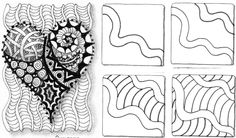 zentangles Zentangle Drawings, Doodles Zentangles, Doodle Drawings, Tangle Doodle, Zen Doodle, Doodle Art, Doodle Patterns, Zentangle Patterns, Drawing Lessons