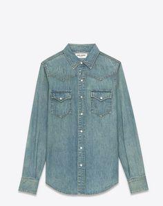 SAINT LAURENT Ysl 70S Western Shirt In Medium Old Blue Denim. #saintlaurent #cloth #