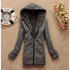 Women's Casual Fleece Lining Zipper Thicken Hoodie Sweatshirt Coat - USD $ 23.00