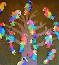 P is for Parrot Handprint Bird craft. I love these hand print craft ideas! Parrot Handprint Bird craft for kids! These colorful parrots made from hand cutouts are simply adorable. Pair with a fun parrot book s Grandma's Craft And Cooking Corner: Parrot Ha Kids Crafts, Daycare Crafts, Summer Crafts, Toddler Crafts, Projects For Kids, Craft Projects, Craft Ideas, Zoo Crafts, Safari Crafts