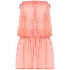 Melissa Odabash Strapless Fruley Dress ($135) ❤ liked on Polyvore featuring dresses, orange, drawstring dress, orange dress, strapless beach dress, elastic waist dress and red mini dress